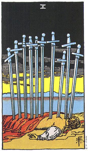 burimai taro kortomis, taro, taro kortos, desimt kardu, kardai, desimt, burimas taro kortomis