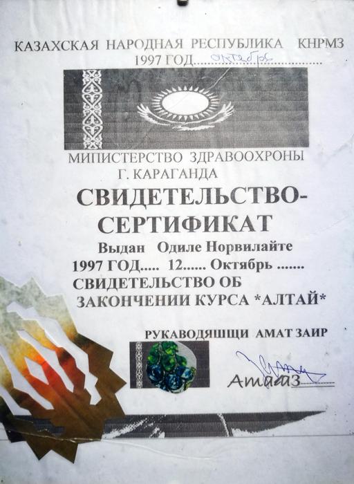 samanu dplomas, diplomas, altai, kazachijoje, kazachija, Odile Norvilaite, samane, bureja